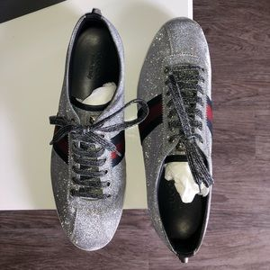 GUCCI Men's Silver Low-Top Sneakers w/ Studs